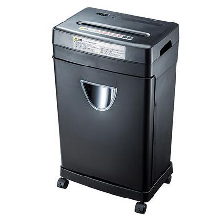 シュレッダー(業務用・電動・ゴミ箱・ダストボックス・フラップ式・クロスカット・A4・10枚以上・大容量・18リットル・キャスター) EEX-SD002