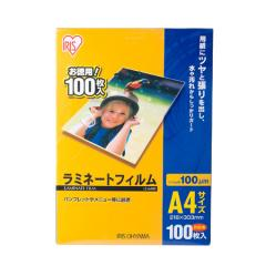 アイリスオーヤマ ラミネートフィルム A4サイズ 100ミクロン 100枚入 LZ-A4100